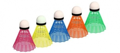 BADMINTON SHUTTLES IN KOKER MULTI-COLOR 5-NIEUW!