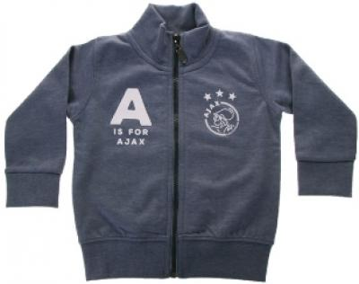 Baby baseball jacket blauw: A is for Ajax maat 62/68