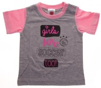 Baby t-shirt ajax roze: girls love soccer maat 50/56